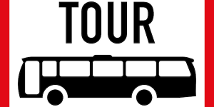 """Clip art of a bus with the word """"tour"""" at the top"""
